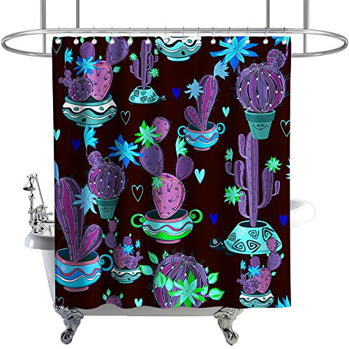 Tropical Shower Curtain Flowers Cactus Pot Plant Theme Cloth Fabric Bathroom Decor Sets with Hooks Waterproof Washable 72 x 72 inches Purple Blue and Green