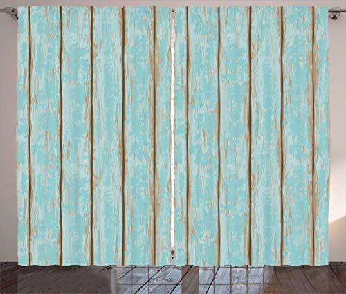 "Lunarable Wood Print Curtains, Old Fashioned Weathered Rustic Planks Summer Cottage Beach Coastal Theme, Living Room Bedroom Window Drapes 2 Panel Set, 108"" X 84"", Blue Tan"