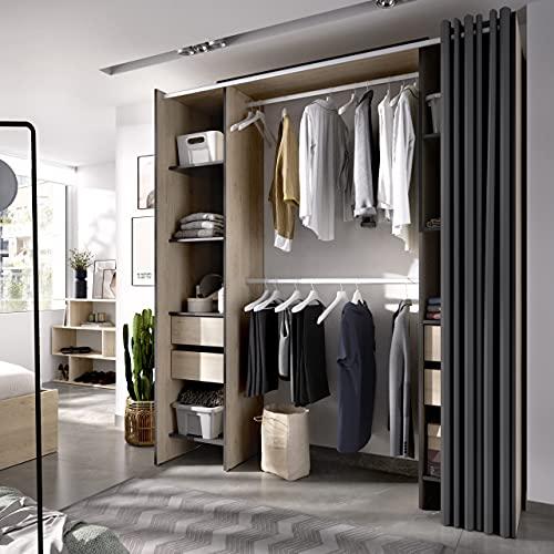 Vestidor con 4 cajones y Cortina Suit Natural - Grafito