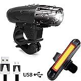 AMANKA Luce Bici, Luci LED per Bicicletta Ricaricabili USB Impermeabile, Super Luminoso Luce Bici...