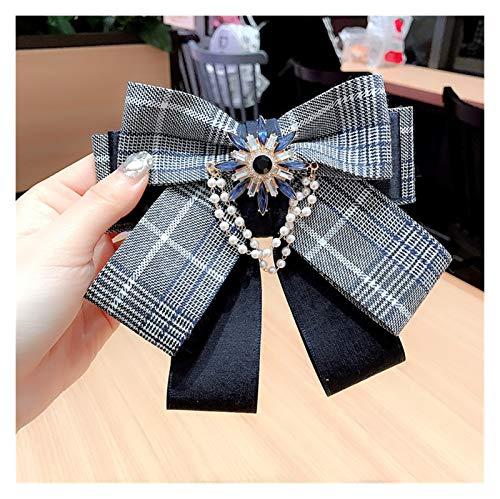 Jgzwlkj Brosche Koreanische Mode Plaid Multi-Layer Bowknot Damen Stoff Fliege High-End Perlenrhinestone Pins und Broschen für Frauen Zubehör (Color : Navy Blue)