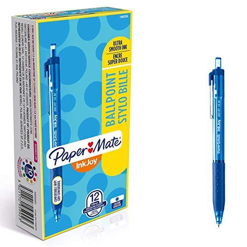 PaperMate InkJoy 300RT, bolígrafo retráctil, punta media de 1 mm y azul, caja de 12