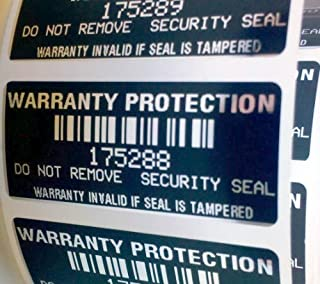 100 Black High Security Tamper Evident Warranty Void Labels/Stickers w/ Unique Sequential Serial Numbering and Bar Code
