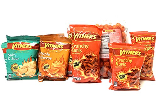 Vitner's 10 Pack Variety Combo SIZZLIN' HOT Crunchy Curls, Nuggets, Puffs Variety Combo