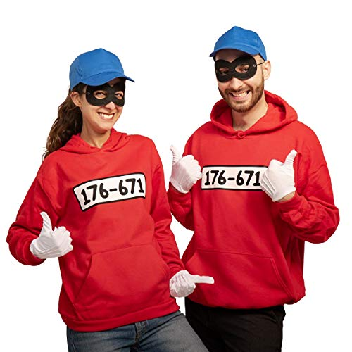 Shirtgeil Karnevals & Faschings Partnerkostüm - Panzerknacker Banditen Hoodie mit Zubehör Mann Rot Medium/Frau Rot Medium