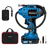 Avid Power Tire Inflator Air Compressor, 20V Cordless Car Tire Pump with Rechargeable Li-ion Battery, 12V Car Power Adapter, Digital Pressure Gauge (Blue)