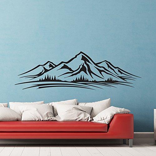 Berge Bäume Wandtattoo Skyline Wand Vinyl Aufkleber Aufkleber Wohnzimmer Kinder Wandbild Art Grafiken Schriftzug
