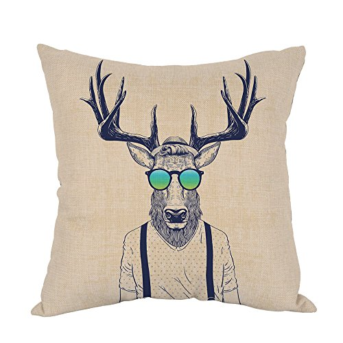 Moslion Deer Pillow,Home Decorative Throw Pillow Cover Deer Dressed Up Like Cool Hipster Cotton Linen Cushion for Couch/Sofa/Bedroom/Livingroom/Kitchen/Car 18 x 18 inch Square Pillow case