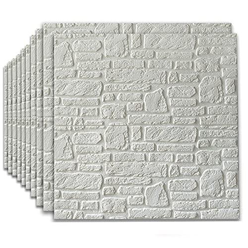 HJRD Papel Pintado 3D Ladrillo, 5 mm DIY Autoadhesivo Pegatinas de Pared 3D Papel Pintado Ladrillo Baldosa de cerámica Paneles para Sala de Estar Oficina en casa, 70x70cm(Color:White,Size:10PC)