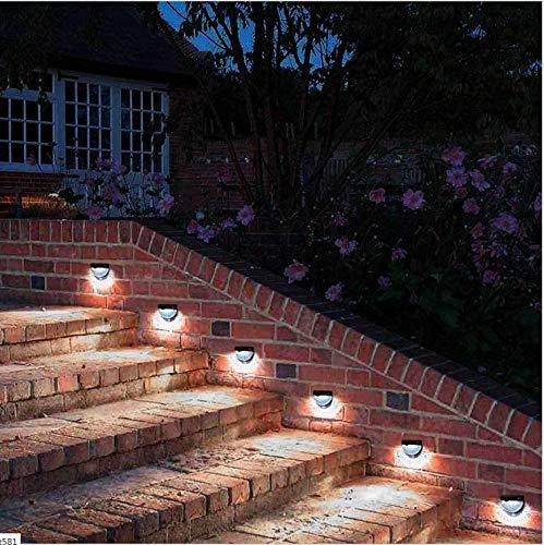 Luz de la escalera semicircular solar al aire libre 6LED lámpara ...