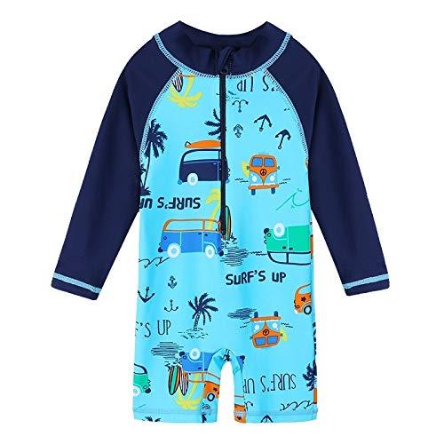 FEIYI Traje de baño UV50 + para niños, traje de baño para niños, traje de baño de una pieza, protección contra erupciones para niños, traje de baño (color: coche S292, tamaño: 3A)