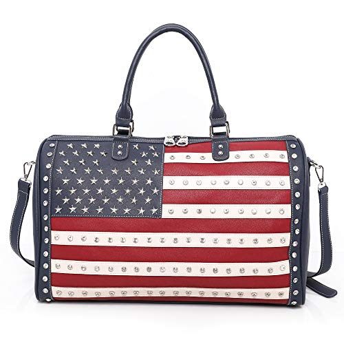 Montana West American Pride Flag Travel Duffle Bags with Sutds Patriotic Large Sport Gym Bag For Women Men Navy ABU-US04-5110NY