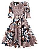 MINTLIMIT Damen Rundhals 1950er Cocktailkleid Kurz Retro Rockabilly Faltenrock mit Taschen und Gürtel(Blumen Hellbraun,Größe XXL)