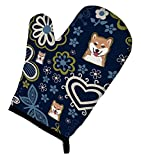 Caroline's Treasures BB5076OVMT Gant de four Motif fleurs bleues Shiba Inu Taille L Multicolore