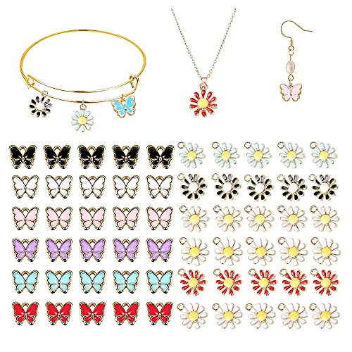 EBANKU 60 Pcs Assorted Gold Plated Enamel Butterfly Daisy Planet Charms for DIY Jewelry Making Necklace Bracelet Earring and Crafting