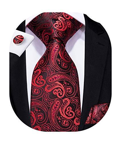 Hi-Tie Set aus Krawatte und Einstecktuch aus Seide mit Paisleymuster Gr. 85, N-s314