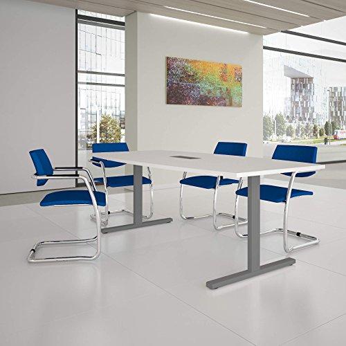 Easy Konferenztisch Bootsform 200x100 cm Weiß mit Elektrifizierung Besprechungstisch Tisch, Gestellfarbe:Silber