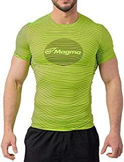 Magma Striped Front Logo Round Neck Slim-Fit Sports T-Shirt for Men