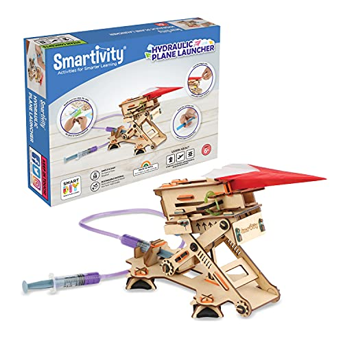 Smartivity Hydraulic Plane Launcher STEM DIY Fun Toys, Educational & Construction based Activity Game for Kids 6 to 12, Gifts for Boys & Girls, Learn Science Engineering Project, Made in India