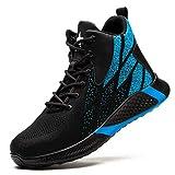 JUDBF Botas de Trabajo Invierno Hombre Mujer s3 Zapatos de Seguridad con Punta de Acero Ligero Transpirable Calzado de Industrial y Deportiva 8081Blue/45