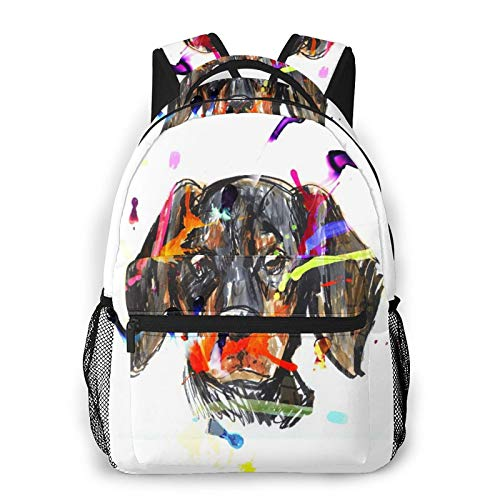 CVSANALA Multifuncional Casual Mochila,Cuadro del perro salchicha Avatar de la cabeza del perro,Paquete de Hombro Doble Bolsa de Deporte de Viaje Computadoras Portátiles