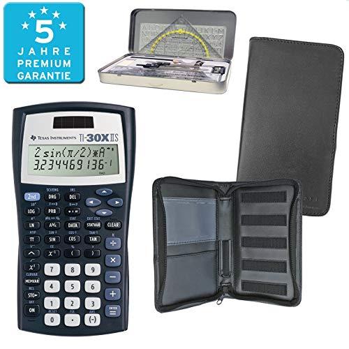 Texas Instruments TI 30 X II Solar PREMIUMpaket + Erweiterte Garantie + Schutztasche + Geometrieset : calcumio Artikel Set