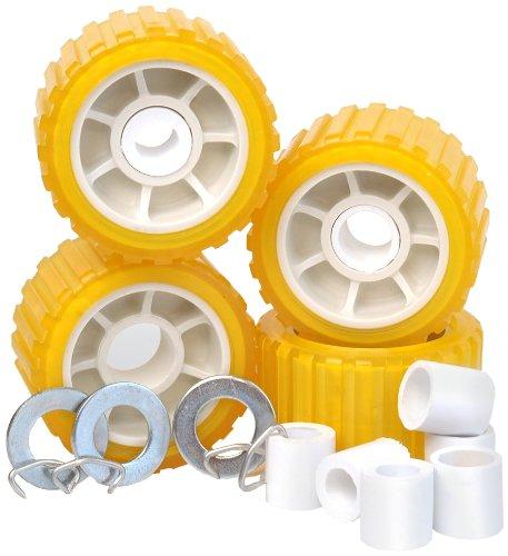 "Tie Down Engineering Yellow Standard 86144 5"" PVC Ribbed Wobble Roller Kit 4-Pk"