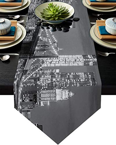 MODORSAN Table Runner Dresser Scarves Photo of The Brooklyn Bridge Over East River and Tall Buildings Table Runner for Catering Events Dinner Parties Wedding,13 * 70 Inch
