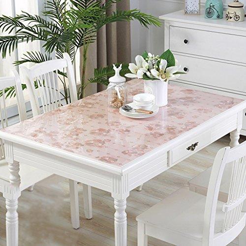 Nappes en PVC souple en verre imperméable à l'eau Anti - Hot table transparente Pad Table en tissu Table basse Pad Nappe en plastique plaque de cristal (Couleur : B, taille : 100*100cm)