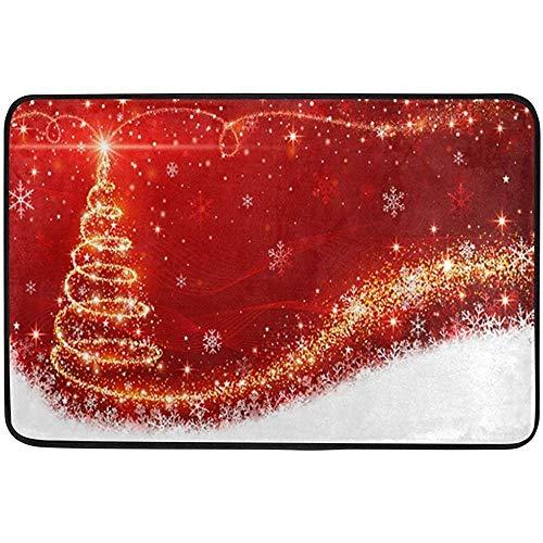 Taoshi Brillante de Navidad Árbol de Oro Rojo Alfombrillas para Exteriores Entrada Frontal Exterior Invierno Año Nuevo Felpudo de Vacaciones Alfombra para Patio Suciedad Escombros Barrera de Barro