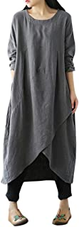Challyhope Long Dress Clearance Women Boho Dress Casual Irregular Maxi Dresses Layered Vintage Loose Long Sleeves Linen Dress