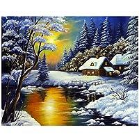 QJIAHQ 数字で描く森手描き絵画冬のDIY写真数字で描くランドスケープキットキャンバスに描く家の装飾50x40cmフレームなし