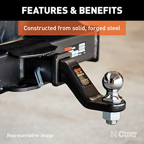CURT 45340 Forged Trailer Hitch Ball Mount, Fits 2-Inch Receiver, 17,000 lbs, 1-1/4-Inch Hole, 2-In Drop, 1-Inch Rise