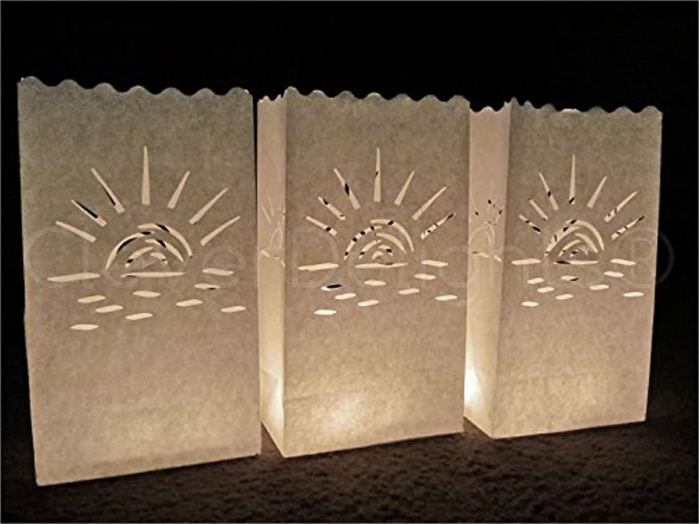 CleverDelights White Luminary Bags - 30 Count - Sunset Design - Wedding, Reception, Party and Event Decor - Flame Resistant Paper - Luminaria