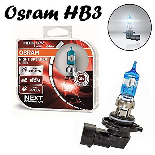 2x Osram HB3 60W 12V P20d Night Breaker Laser +150% Next Generation 9005NL-HCB hell Weiß White Ersatz Scheinwerfer Halogen Auto Lampe - E-geprüft