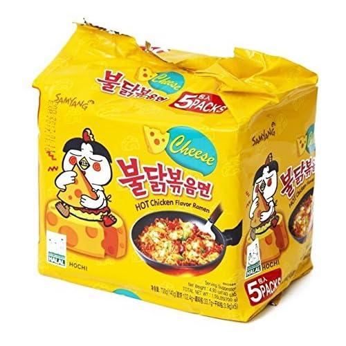 Samyang Fire Hot Cheese Flavored Chicken Ramen Noodles Pack of 5, Korean Noodles