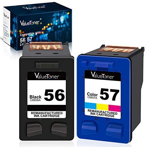 Price comparison product image Valuetoner Remanufactured Ink Cartridges for HP 56 & 57 C9321BN C6656AN C6657AN for Deskjet 5650 5550 5150,  Photosmart 7350 7260 7450 7550 7760,  PSC 2210 Printer (1 Black,  1 Tri-Color,  2 Pack)