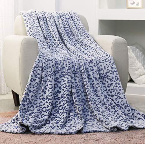 FY FIBER HOUSE Flannel Fleece Throw Microfiber Blanket with 3D Cheetah Print50 by 60InchBlue