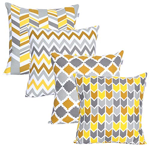 UMI By Amazon Luxurious Printed Decorative Square 4pc Pack Cotton Cushion/Pillow Covers for Home, Sofa, Couch, Chair 45x45 cm in - Musturd/Yellow Color
