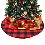 BORNET Gonna per Albero di Natale/Gonna A Quadri Rotonda Nera 120 Cm Gonna Plaid Rossa per Hotel di Natale Negozio Decorativo Regalo