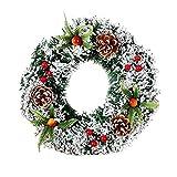 NUOBESTY 20cm decoración Colgante de Navidad Corona de Pino Artificial con Cono Guirnalda Invernal Suministros para buzón de Correo de Ventana de Puerta de Pared