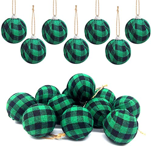 Deloky 16Pcs Buffalo Plaid Fabric Ball- 2.16 Inch Small Christmas Fabric Wrapped Balls Christmas Hanging Ornament for St.Patrick's Day Christmas Tree Party Decoration Supplies (Green)