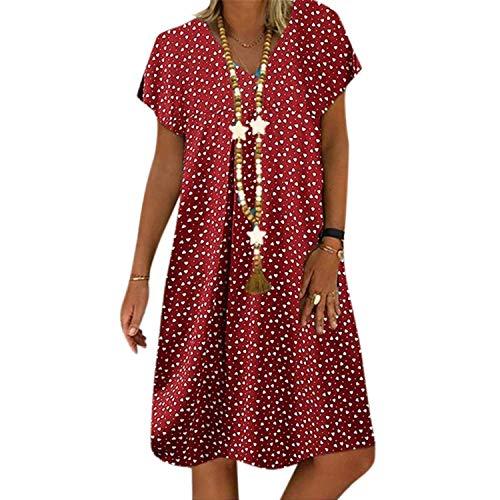 Vestidos casuales para mujer de verano 2020 con costuras sueltas de color a rayas y puntos, para el ocio, con...