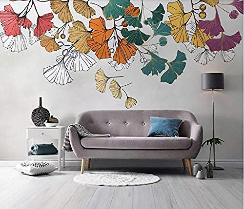 XHXI Colored Ginkgo Leaves Sidewall Wallpaper Ginkgo Biloba for Home Bedroom Living Room Wallpaper Wall Covering Decorat 3D Wallpaper Paste Living Room The Wall for Bedroom Mural border-350cm×256cm