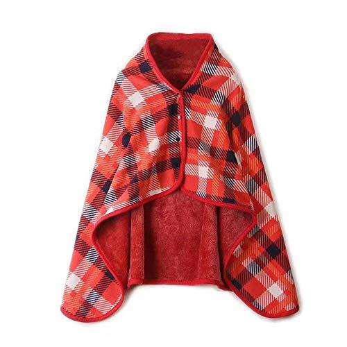 LAIYYI Manta de tela de tela elástica, súper suave, cálida y colorida manta engrosante, manta de franela gruesa para usar con botón para invierno cálido