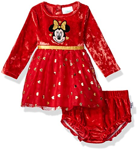 Disney Baby Girls' Minnie Mouse Tutu Dress and Diaper Cover Set, Chinese Red, 6-9 Months