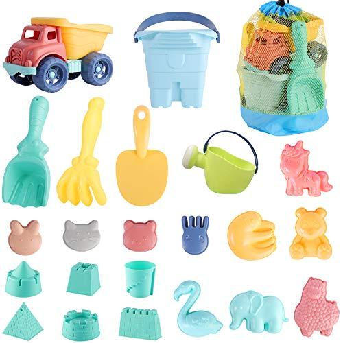 Strandspielzeug für Kinder, Kleinkindspielzeug für Strand Sandgrube mit Bucket Spade Castle Formen für 3-10 Jahre alte Kinder Weiches Kunststoffmaterial (Stil A)