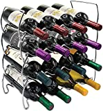 Freestanding 4 Tier Stackable Wine Rack for Bottles, Dining Room and Kitchen Counter Top Display, Storage, and Organization,16 Bottles Space-Saving Home Bar and Cabinet Use (Silver)