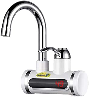 Yd&h Kitchen Fast Heating Tap 3 Seconds Hot Electric Hot Water Heater Faucet Home Kitchen Bathroom Tap Water Heating Digital Display Cold Water Hot Water Fast Water Heater (Color : Small Curved Pipe)