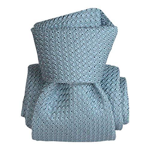 Segni et Disegni. Cravate grenadine de soie. Premium, Soie. Bleu, Uni. Fabriqué en Italie.